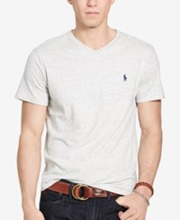 Polo Ralph Lauren Men's Relaxed Fit Jersey V Neck T Shirt Lawrence Grey