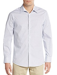 Report Collection Patterned Cotton Shirt White