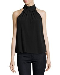 Catherine Malandrino Mock Neck Sleeveless Top Black