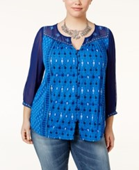 Lucky Brand Trendy Plus Size Printed Peasant Top Blue Multi