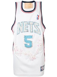 Night Market Nets Embroidered Nba Tank Women Polyester One Size White