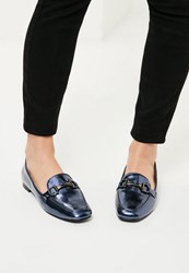 Missguided Blue Buckle Detail Loafers