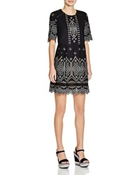 French Connection Josephine Eyelet Dress Black Tribal Green