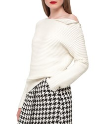 Akris Ribbed Knit Zip Shoulder Sweater Ivory