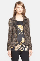 St. John Leather Trim Ribbon Knit Jacket Nordstrom Exclusive Caviar Multi