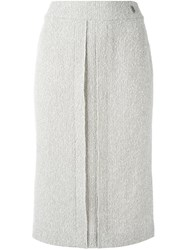Chanel Vintage Straight Midi Skirt Nude And Neutrals