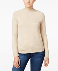 Karen Scott Petite Mock Neck Sweater Only At Macy's Oatmeal Hthr