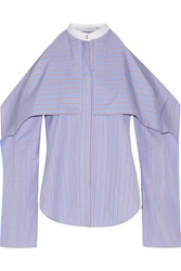 Rosetta Getty Cold Shoulder Striped Cotton Poplin Blouse Blue