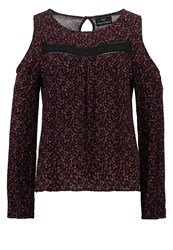 Superdry Fern Blouse Splattered Floral Plum Bordeaux