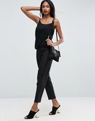 Asos Tux Cigarette Trousers With Sheer Fringe Detail Black