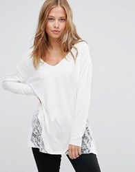 Asos Top With Lace Panels And Long Sleeve In Oversized Fit Cream Red