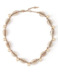 Etro Shell Crystal And Faux Pearl Choker White