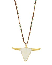 Native Gem Jewelry Unearthen Hand Carved Longhorn Pendant Necklace Green