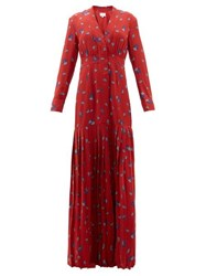 Rebecca De Ravenel Paisley Print Silk Crepe Chine Maxi Dress Red Multi