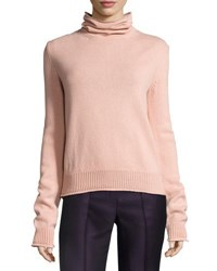 Nina Ricci Knit Open Back Turtleneck Sweater Light Pink