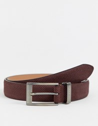 Ted Baker Consway Leather Belt In Dark Brick Brown