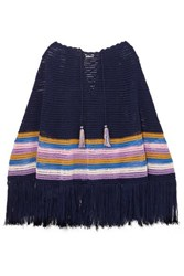 Talitha Fringed Striped Crocheted Cotton Poncho Navy