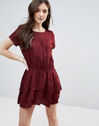 D.Ra Helene Dress With Tiered Skirt Bordeaux
