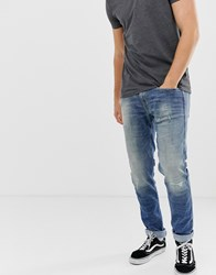 Replay Anbass Slim 10 Year Aged Jeans In Mid Wash Blue