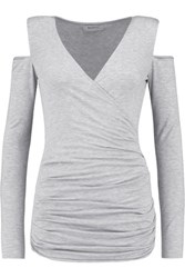 Bailey 44 Cutout Shoulder Wrap Effect Jersey Top Light Gray