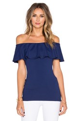 Susana Monaco Ruffle Off The Shoulder Top Navy