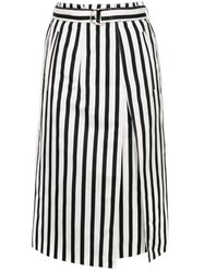 Des Pres Striped Pleat Front Skirt Black
