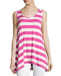 Chelsea And Theodore Striped Scoopneck Tank Brown Ivory