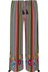 Figue Goa Embroidered Striped Silk Georgette Wide Leg Pants Navy