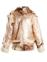 Marques Almeida Oversized Buckle Shearling Jacket Gold