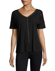 Lord And Taylor Double V Neck Linen Tee Black