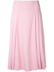 Victoria Beckham Pleated Detail Midi Skirt Women Acetate Viscose 10 Pink Purple