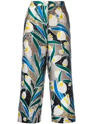 Rochas Floral Print Cropped Trousers Women Silk Polyester 42 Nude Neutrals