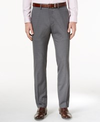 Kenneth Cole Reaction Men's Slim Fit Medium Gray Windowpane Plaid Dress Pants