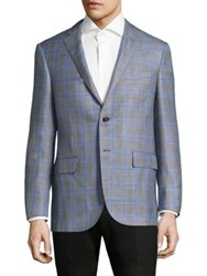 Corneliani Plaid Regular Fit Wool Blazer Grey