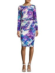 David Meister Printed Long Sleeve Dress Multicolor