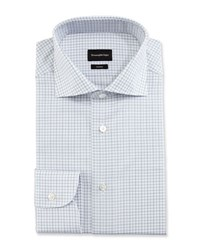 Ermenegildo Zegna Trofeo Box Plaid Dress Shirt White Navy