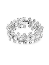 Saks Fifth Avenue Cubic Zirconia Rhinestone And Silver Bracelet Rhodium