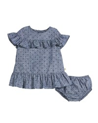Kate Spade Chambray Polka Dot Ruffle Trim Dress W Bloomers Blue