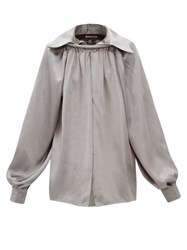 Balenciaga Ring Collared Silk Satin Blouse Grey