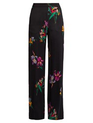 Etro Floral Print Wide Leg Satin Trousers Black Multi