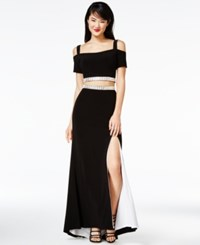 Jump Juniors' 2 Pc. Cold Shoulder Gown A Macy's Exclusive Black White
