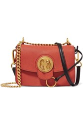 Chloe Mily Small Textured Leather And Suede Shoulder Bag Coral