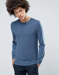 Asos Cable Jumper In Merino Wool Mix Blue Jeans