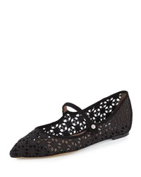Tabitha Simmons Hermione Daisy Crocheted Mary Jane Flat Black