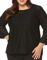Rafaella Plus Three Quarter Bell Sleeve Striped Blouse Black