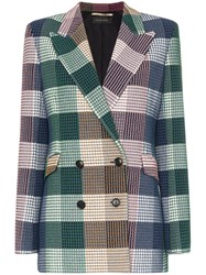 Roland Mouret Harleston Double Breasted Check Blazer Jacket Blue
