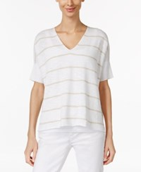 Eileen Fisher Striped V Neck Sweater White Natural