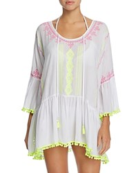 Surf Gypsy Embroidered Pom Pom Dress Swim Cover Up White