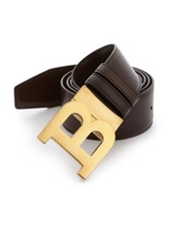 Bally B Buckle Leather Belt Brown
