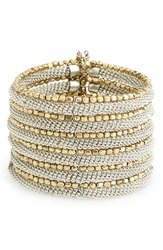Spring Street Beaded Cuff Silver Gold